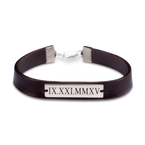 Personalised Roman Numeral Leather Bracelets - Thumb