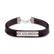 Personalized Roman Numeral Leather Bracelets