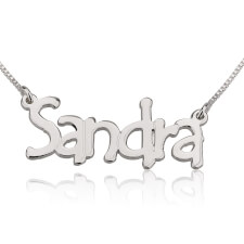 14K White Gold Tree Style Name Necklace