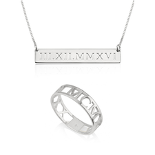 Roman Numeral Ring & Bar Necklace Set