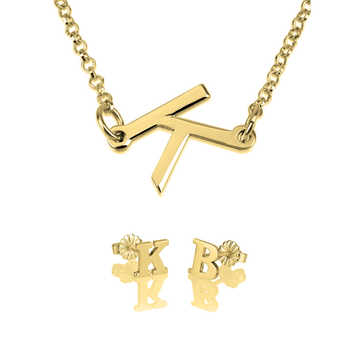 Initial Earring & Sideways Initial Necklace Set