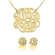 Monogram Necklace & Earring Set