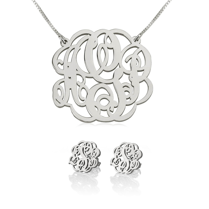 Monogram Necklace & Earring Set