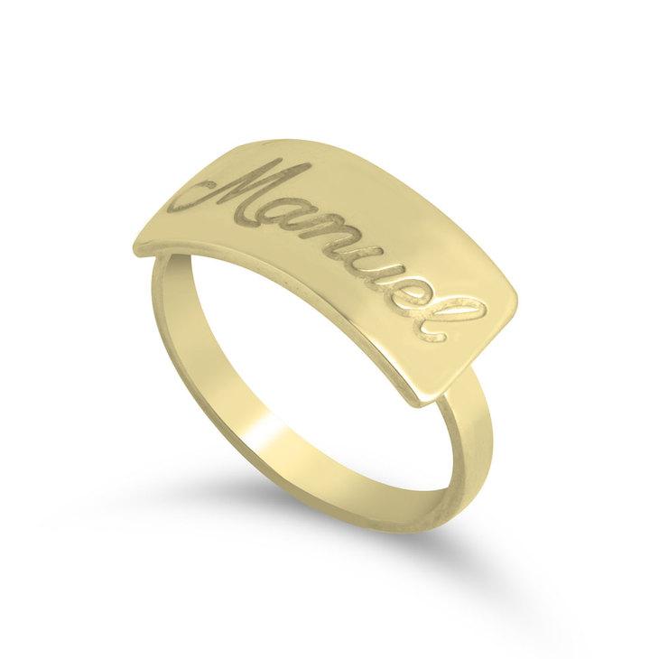 Engraved Bar Name Ring