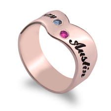 Birthstone Ring with Two Engraved Names