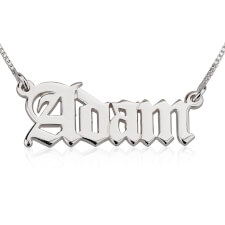 14k White Gold English Style Name Necklace