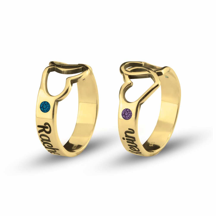 Birthstone Ring with Engraved Hearts and Names - Picture 2