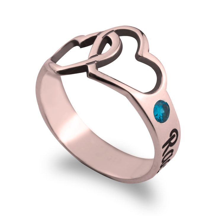 Birthstone Ring with Engraved Hearts and Names