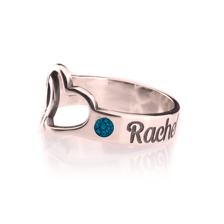 Birthstone Ring with Engraved Hearts and Names - Picture 3
