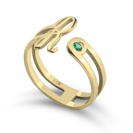 Birthstone Open Ring With Initial