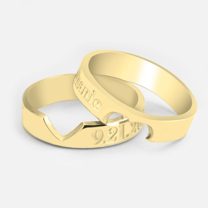 Personalized Heart Cutout Ring Set - Picture 2