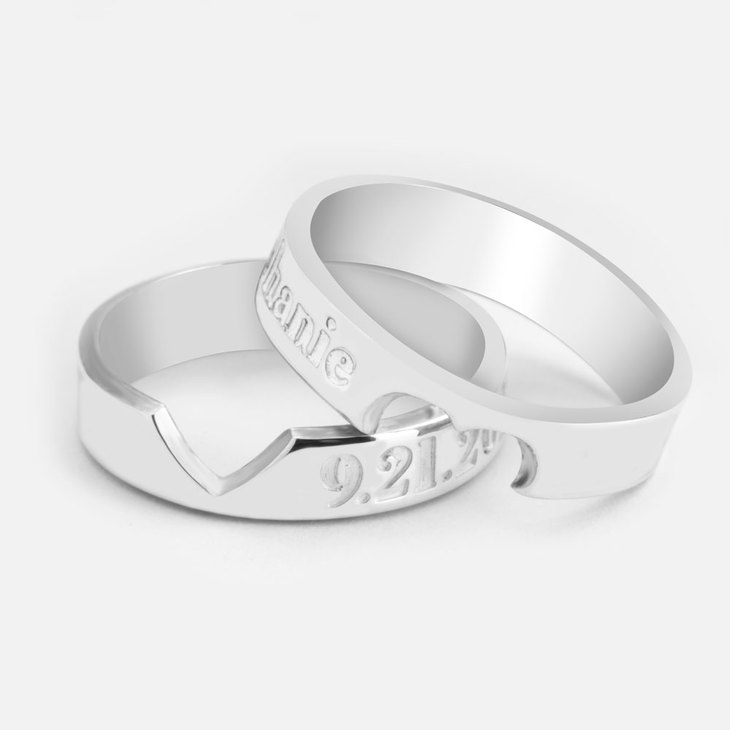 Personalised Heart Cutout Ring Set  - Picture 2