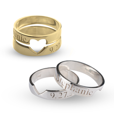 Personalized Heart Cutout Ring Set