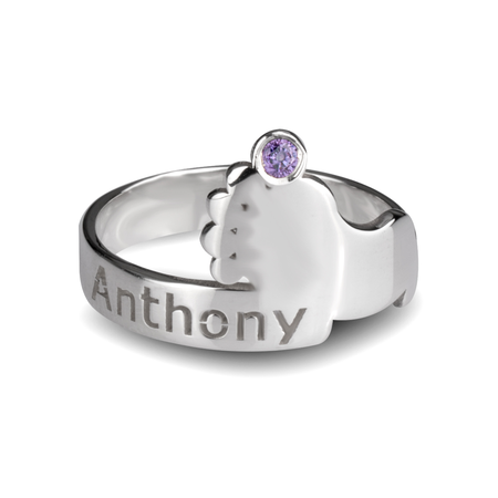 Baby Feet Ring with Birthstone