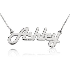 14k White Gold Italic Name Necklace