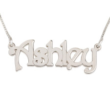 14k White Gold Harrie Style Name Necklace