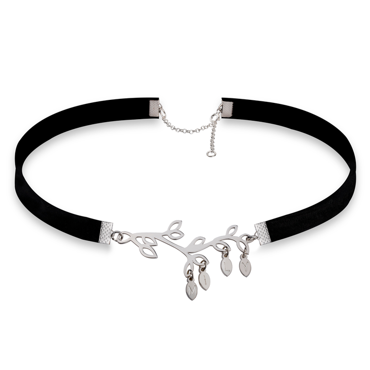 Family Tree Split Choker with Initials on Leaves