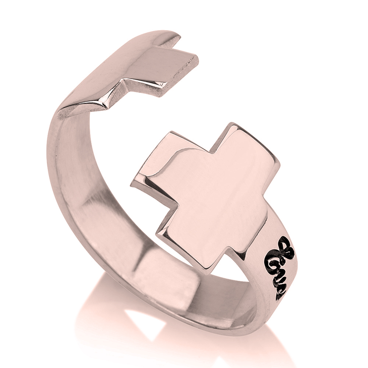 Personalized Wrap Cross Ring