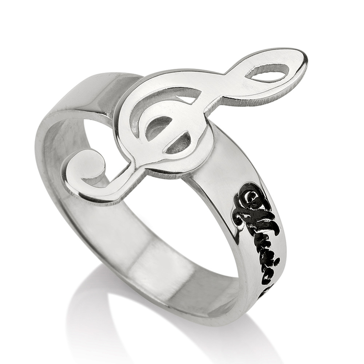 Music Note Personalized Name Ring