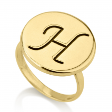 Engraved Initial Round Ring
