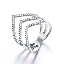 Cubic Zirconia Chevron Ring