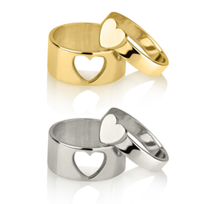 Matching Couple Heart Rings