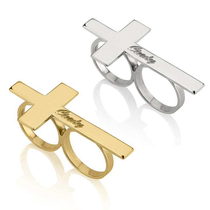 Double Finger Cross Name Ring