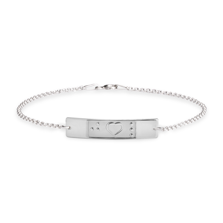 Heart Bar Braille Bracelet