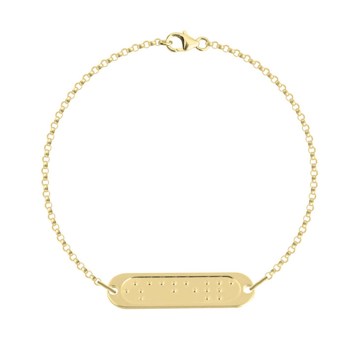 Double Chain Braille Bar Bracelet