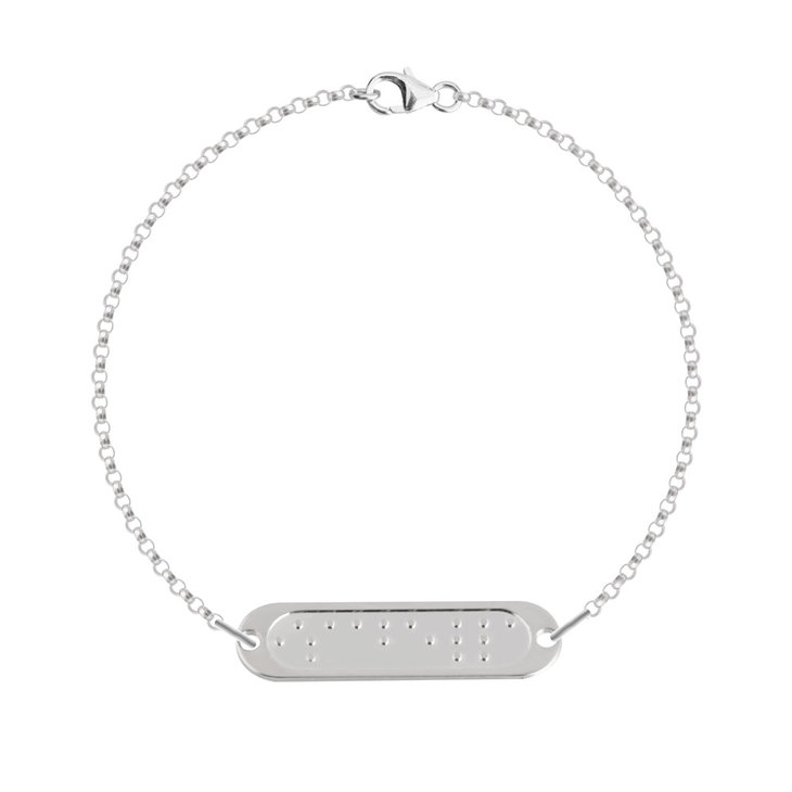 Double Chain Braille Bar Bracelet