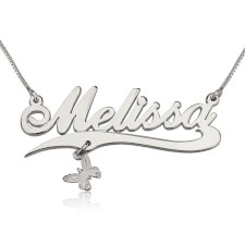 14K White Gold Alegro with Line and Charm Name Necklace