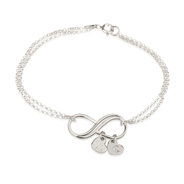Bracelet Infini avec Charms Cœur Initiale