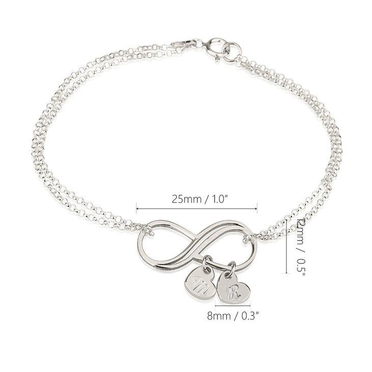 Bracelet Infini avec Charms Cœur Initiale - Information