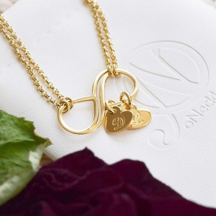 Bracelet Infini avec Charms Cœur Initiale - Model
