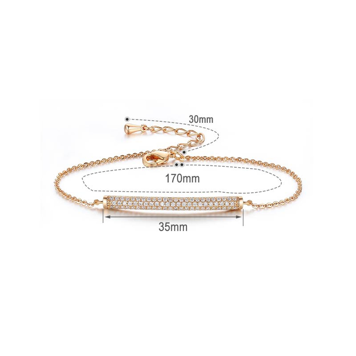 Dainty Bar Bracelet with Cubic Zirconia - Information