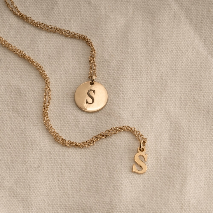 Small Letter Initial Necklace - Model