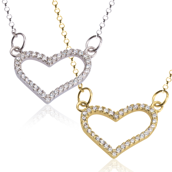 Cubic Zirconia Heart Pendant Necklace