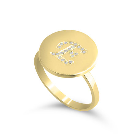 Engraved Initial Round Ring with Cubic Zirconia