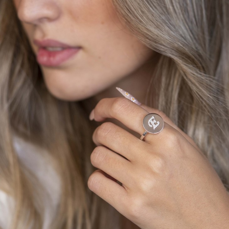 Engraved Initial Round Ring with Cubic Zirconia - Model