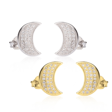 Cubic Zirconia Half Moon Earrings