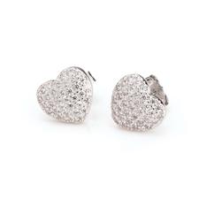Cubic Zirconia Heart Earring Studs