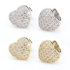 Boucles d'Oreilles Cœur avec Zirconium