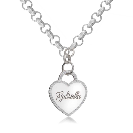 Engraved Heart Necklace with Cubic Zirconia