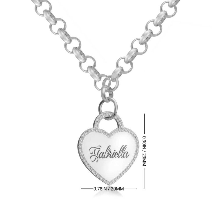 Engraved Heart Necklace with Cubic Zirconia - Information