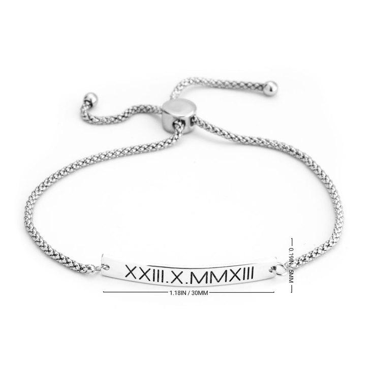 Roman Numeral Bar Bracelet - Information