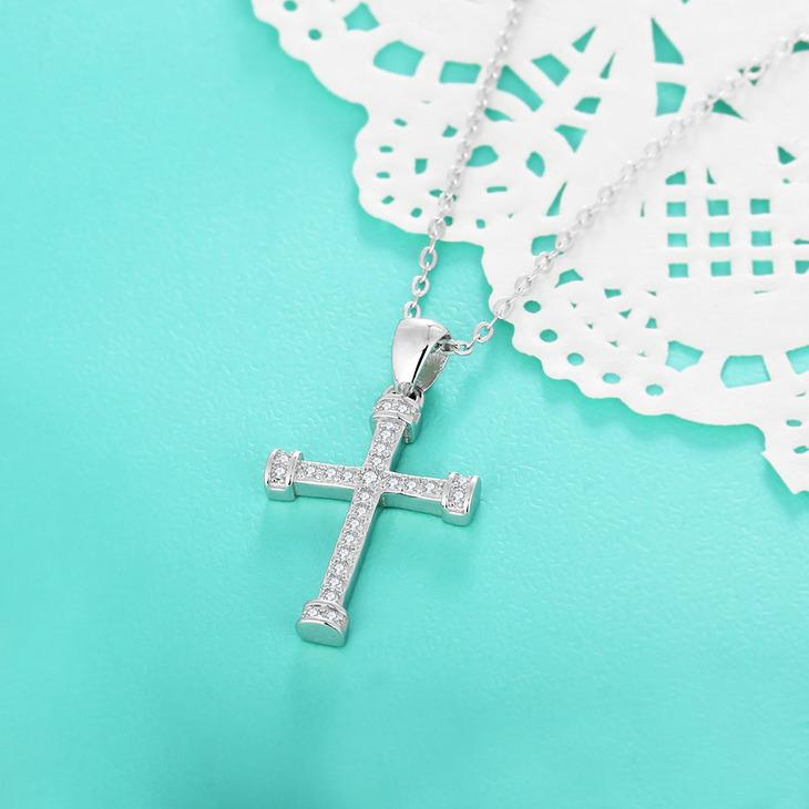 Cubic Zirconia Cross Pendant Necklace - Picture 2