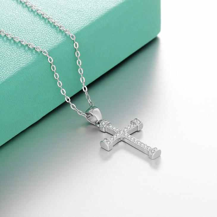 Cubic Zirconia Cross Pendant Necklace - Picture 3