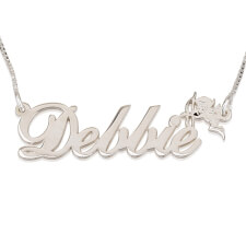 14k White Gold Hand Name Necklace with Cupid