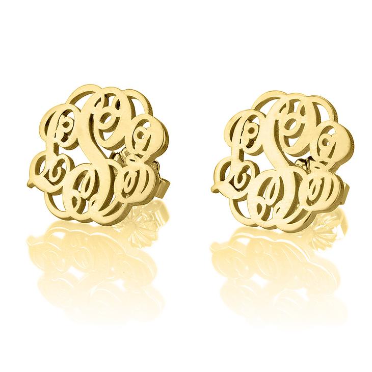 Monogrammed Earrings Studs