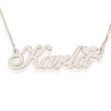 14k White Gold Delicate Name Necklace with Hearts